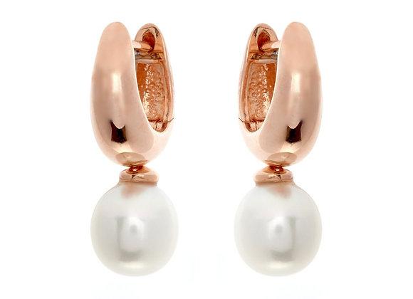 Sybella - Rose gold hoop & fresh water pearl earrings