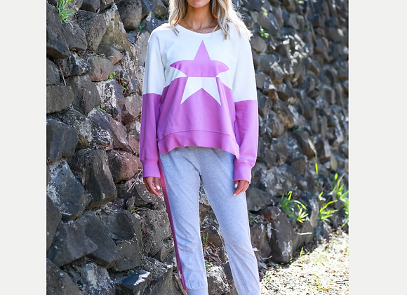 3rd Story - Contrast Star Sweater - Magenta