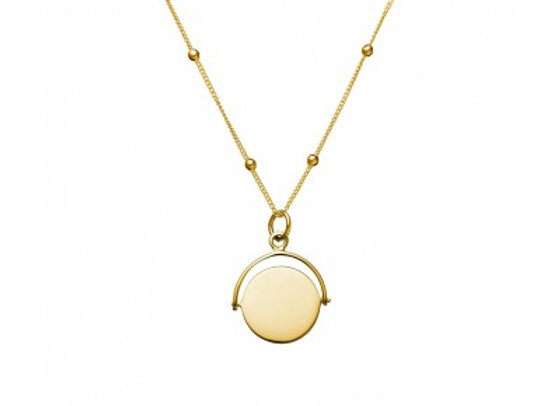 Sterling silver gold plated necklace featuring swing-disc pendant. 50cm