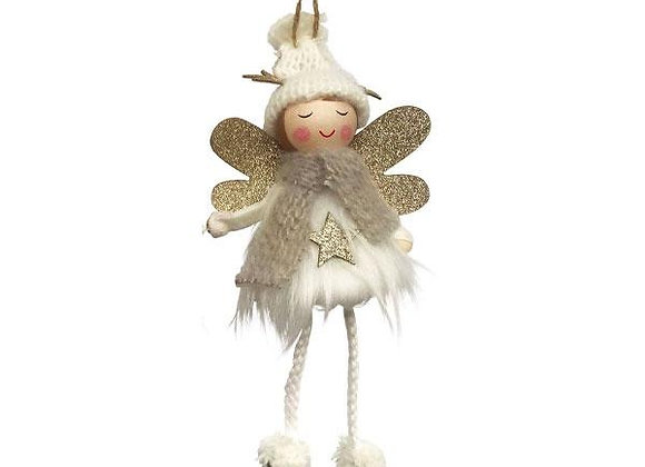 Fluffy Angel Hanging Decoration - Cream
