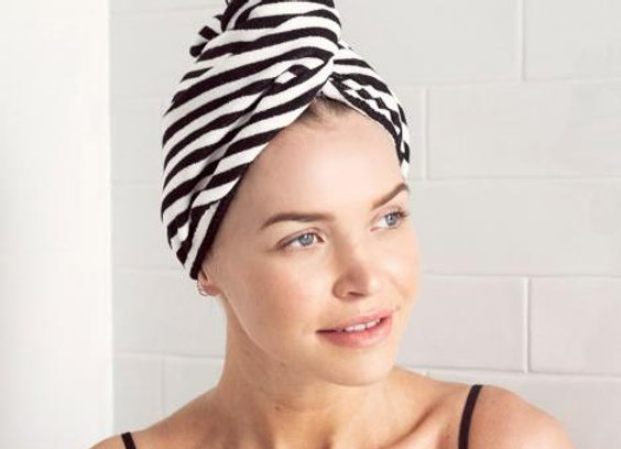 Louvelle - Riva Hair Towel Wrap - Monochrome Stripe