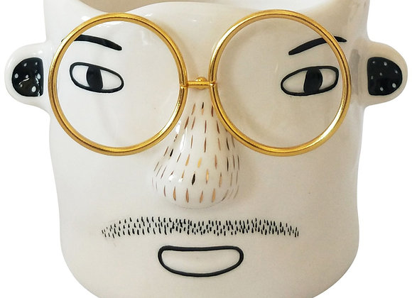 Man With Gold Glasses Ceramic Planter