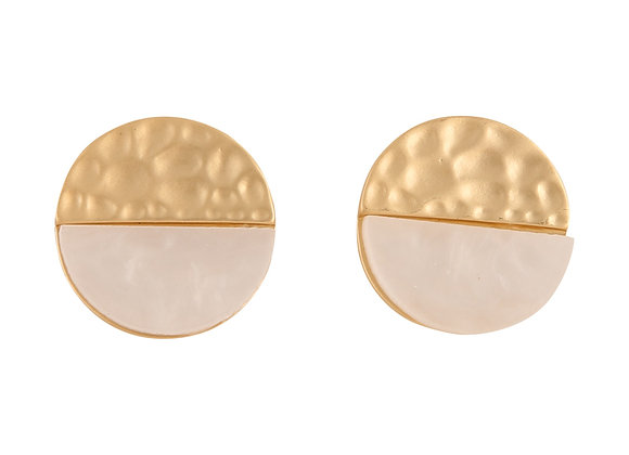 Metal & Resin Natural Stud Earring