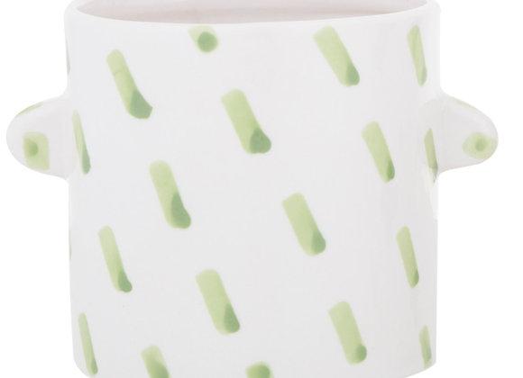 Ceramic Planter on legs Green Dash Design