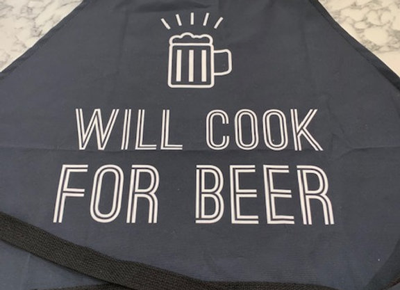 Mens Apron Will Cook For Beer
