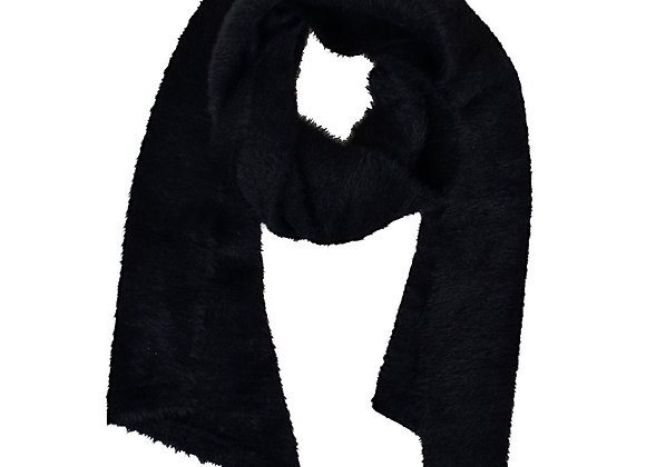 Furry Knitted Scarf Black