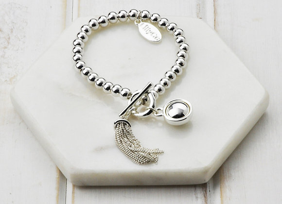 Lilly Co - Silver Tassel & Fob Bracelet