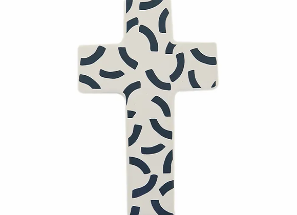 Ceramic Cross - Navy/White