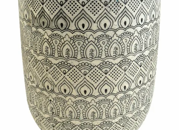 Ceramic Pot - Blk/White