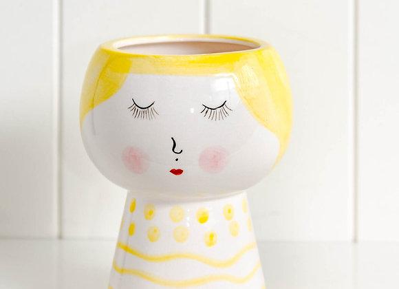 Ceramic Planter Face Yellow