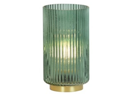 Light up Glass Hurricane Lantern - Green