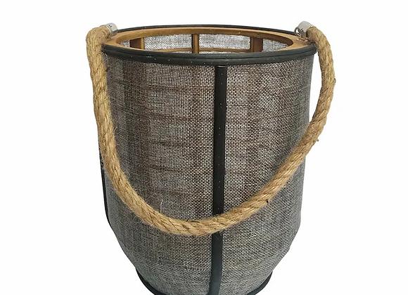 Candle Holder Black/Brown Timber medium