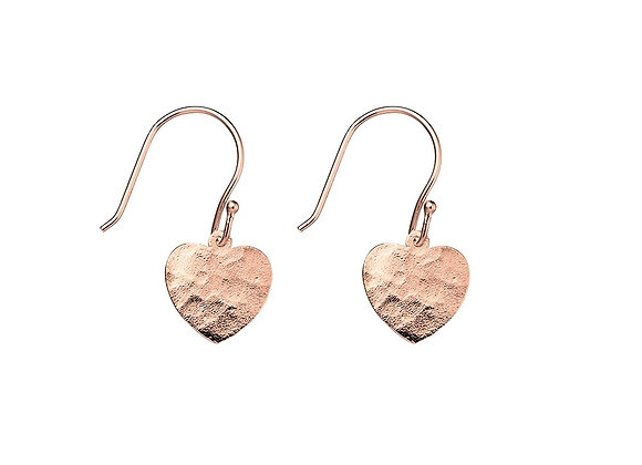 Sterling Silver Rose Gold Plated Hammered Heart Drop Earring