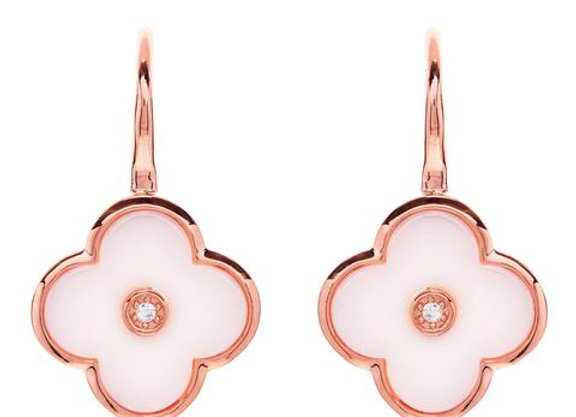 Sybella - Rose Gold Cubic Zirconia & white flower drop earrings