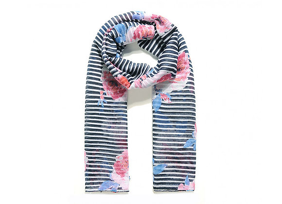 Lilly Co - Navy Floral Stripe Scarf