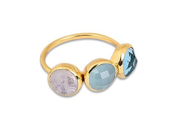 Susan Rose - Capri Moonstone, Aqua, Quartz Ring