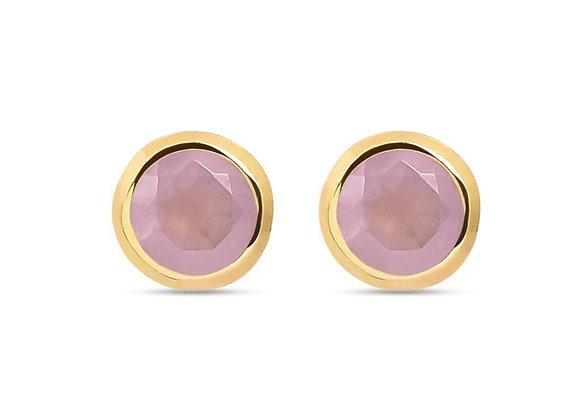Susan Rose - Diva Rose Chalcedony Gold Stud Earring