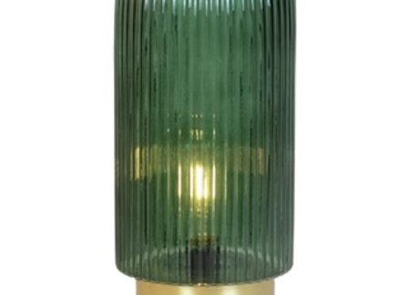Light up Glass Hurricane Lantern - Green large