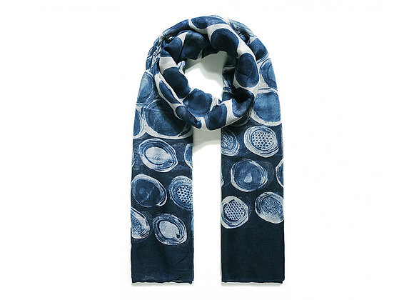 Lilly Co - Blue Abstract Paintery Spot Scarf