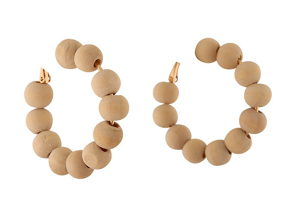 Natural Wooden Bead Earring