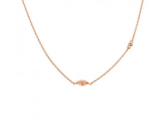 Sterling Silver rose gold plated mini eye necklace 42 + 3cm