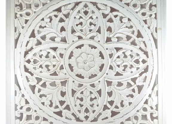 Whitewash Carved Wood Wall Plaque - large