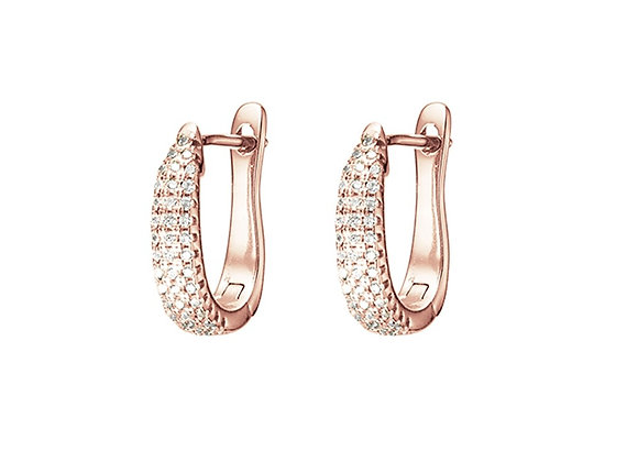 Sterling silver rose gold plated pave set oval hoop earring