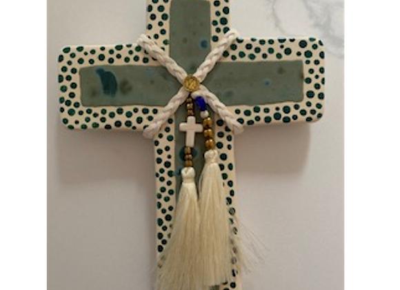 George & Cole - Artemis Green Medium Ceramic Cross