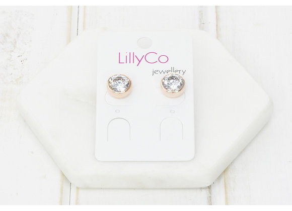 LillyCo - Cubic Zirconia Rose Gold Battered Stud Earring