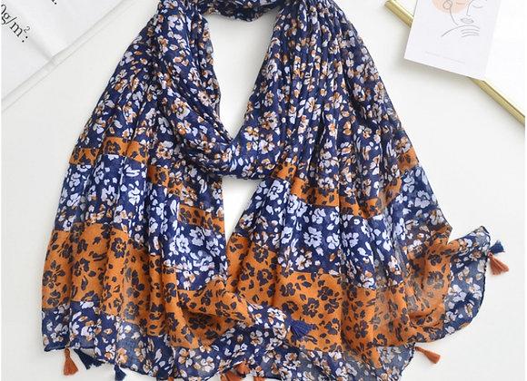 Lilly Co - Navy & Orange Print Scarf