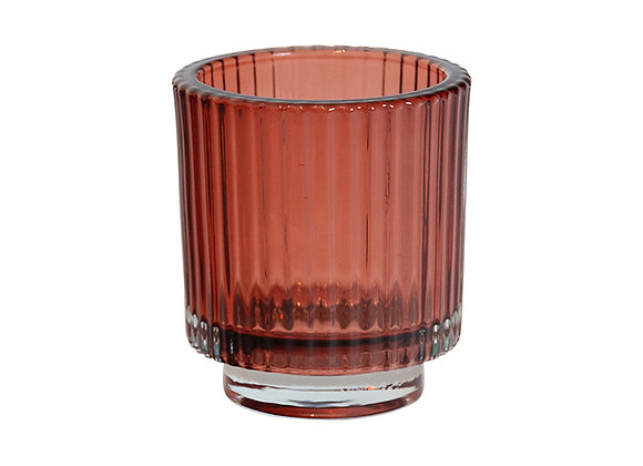 Glass Ribbed Votive Pink large