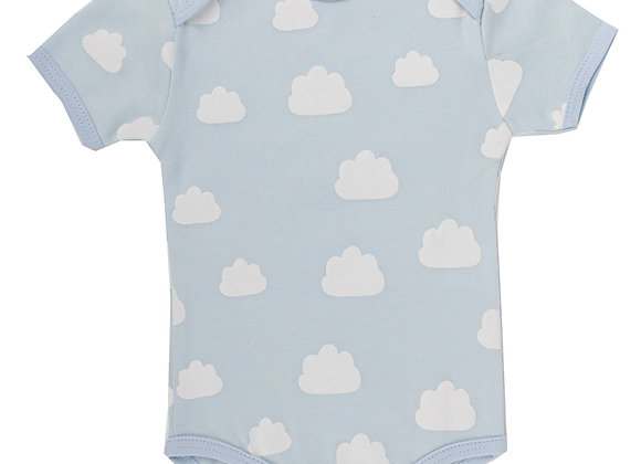 Emotion & Kids - Pale Blue Clouds Short Sleeve Bodysuit Size 3-6months
