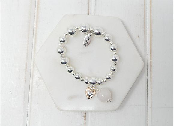 Lilly Co - Silver Pink Stone Bracelet