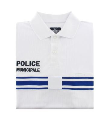 POLO RESPIRANT MANCHES COURTES POLICE MUNICIPALE - DMB