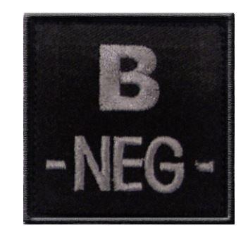 GROUPE SANGUIN B NEGATIF BRODE SUR TISSU