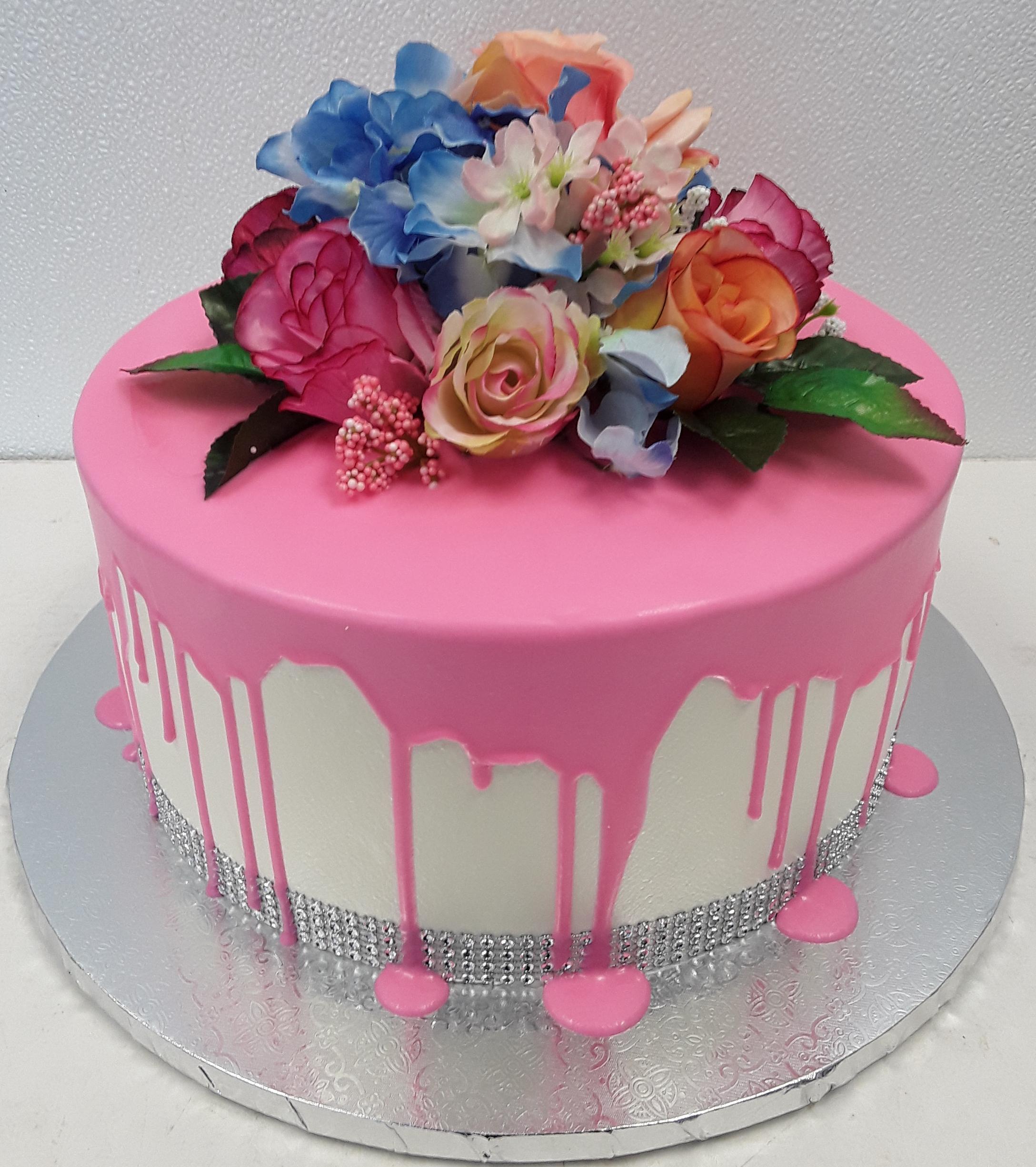 Drip cake, flowers, bling, girl
