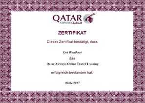 Qatar Airways Zertifikat
