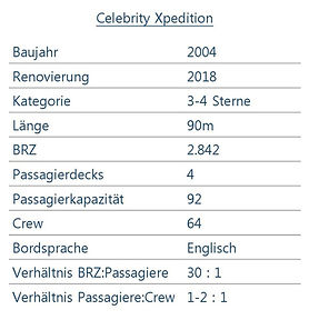 CELEBRITY XPEDITION Schiffsdaten