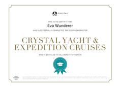 Crystal Cruises Zertifikat