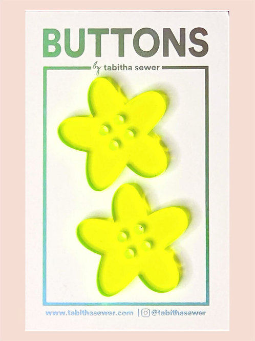 Neon Green Flower Buttons (1.25in)