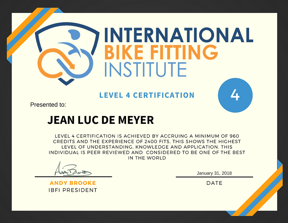 International Bikefitting Institute level 4 certification