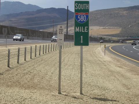 Milemarker for Interstate 580 in western USA, with mountains (goals) in the background