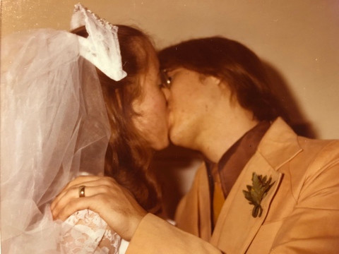 Sharon and Miles's first kiss as a married couple