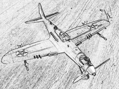Wen-Mac .049 control line Airacobra with spring-fired missiles and ejectable pilot with parachute