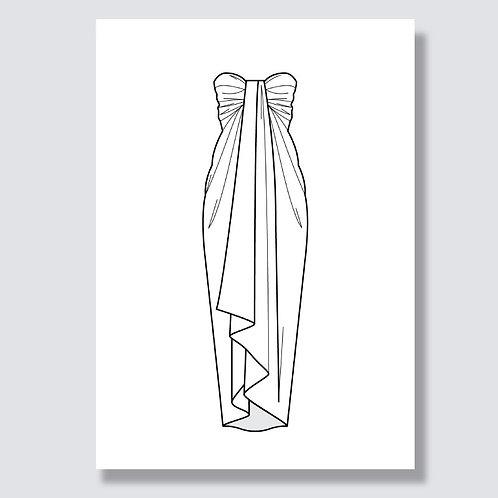 """""""Pareo wrap dress"""" (Pareo Wickelkleid) Ai file (Adobe Illustrator)"""