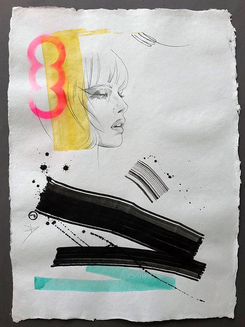 """Portrait"" 75x55cm, mixed media on paper"