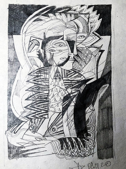 """Portrait"" 42x30cm, mixed media on paper"