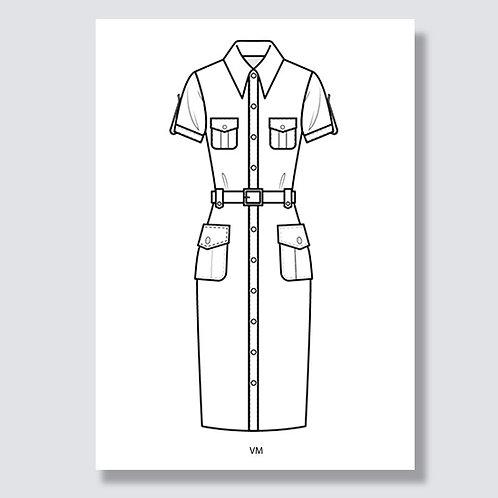 """Shirt dress"" (Hemdblusenkleid) Ai file (Adobe Illustrator)"