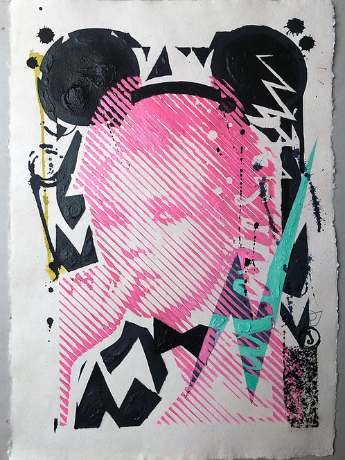 """Pink portrait"" 42x30cm, mixed media on paper"