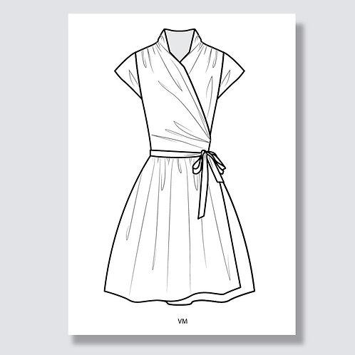 """Ballet wrap dress"" (Ballett-Wickelkleid) Ai file (Adobe Illustrator)"